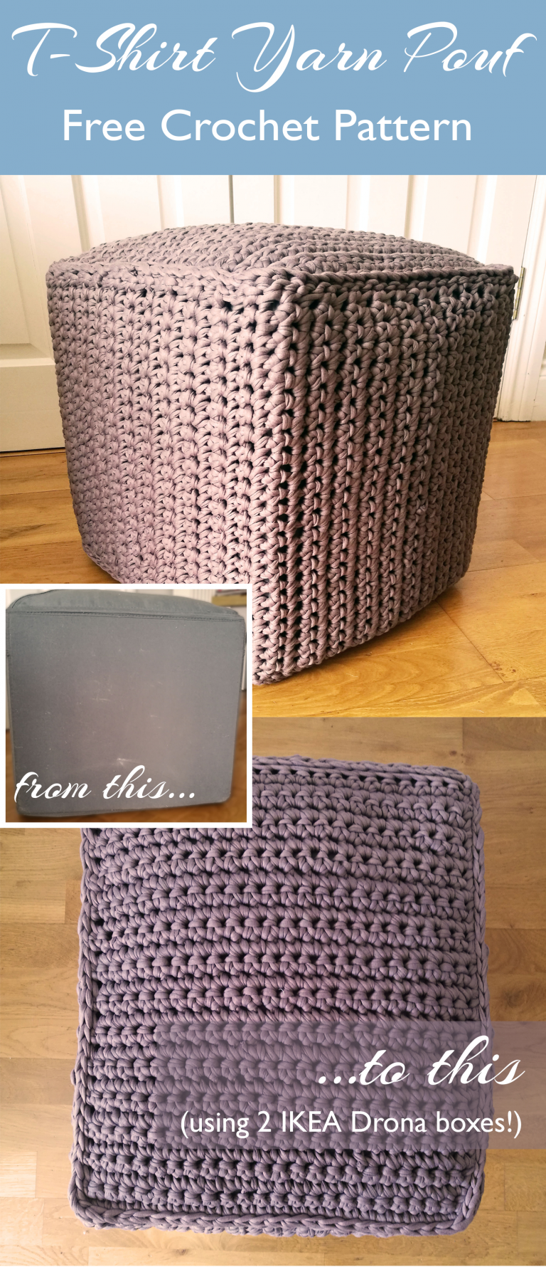 Crochet T Shirt Yarn Pouf Using Ikea Drona Boxes Yastiklar