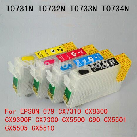 $8.90 (Buy here: http://appdeal.ru/5wgp ) T0731-T0734 Refillable ink cartridge for EPSON C79 CX7310 CX8300 CX7300 CX9300F CX5500 C90 CX5501 CX5505 CX5510 Auto reset chip for just $8.90