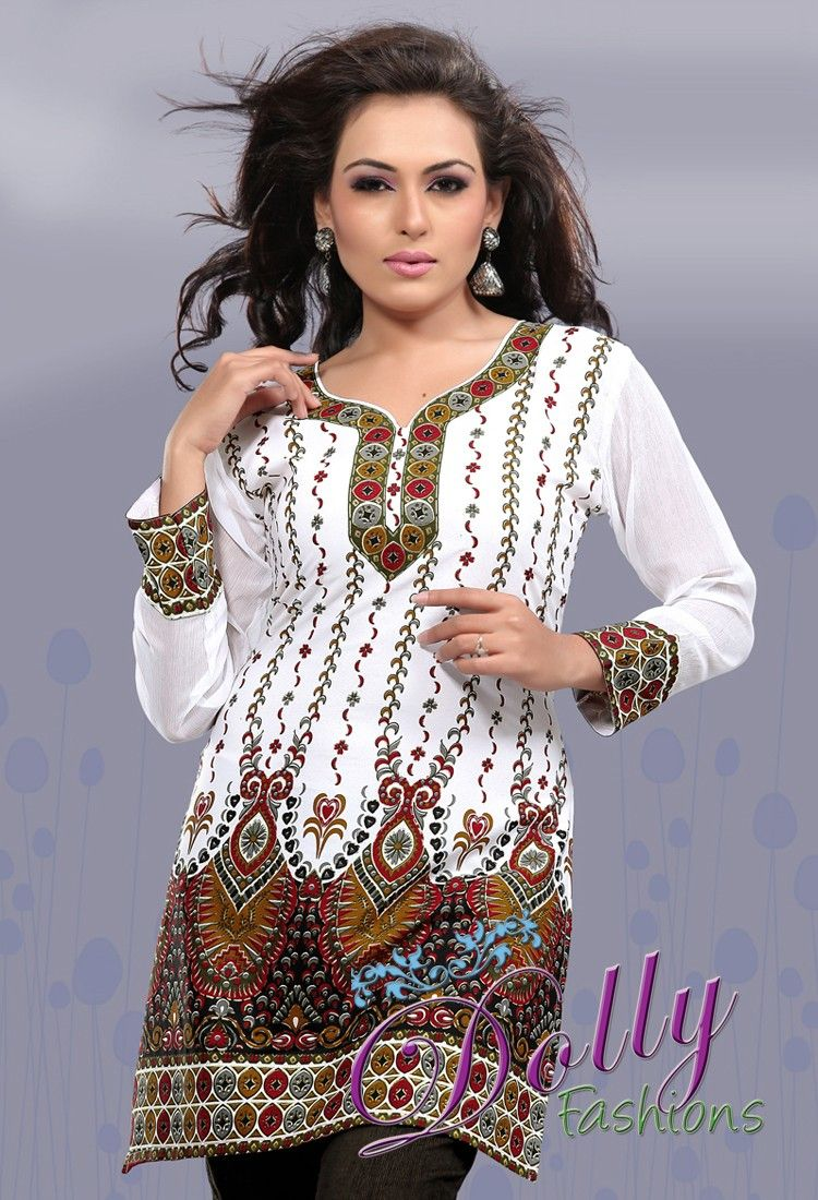 f4d49c844ad White Printed Crepe Kurti with Chiffon Sleeves/ Indian Tunic Top ...
