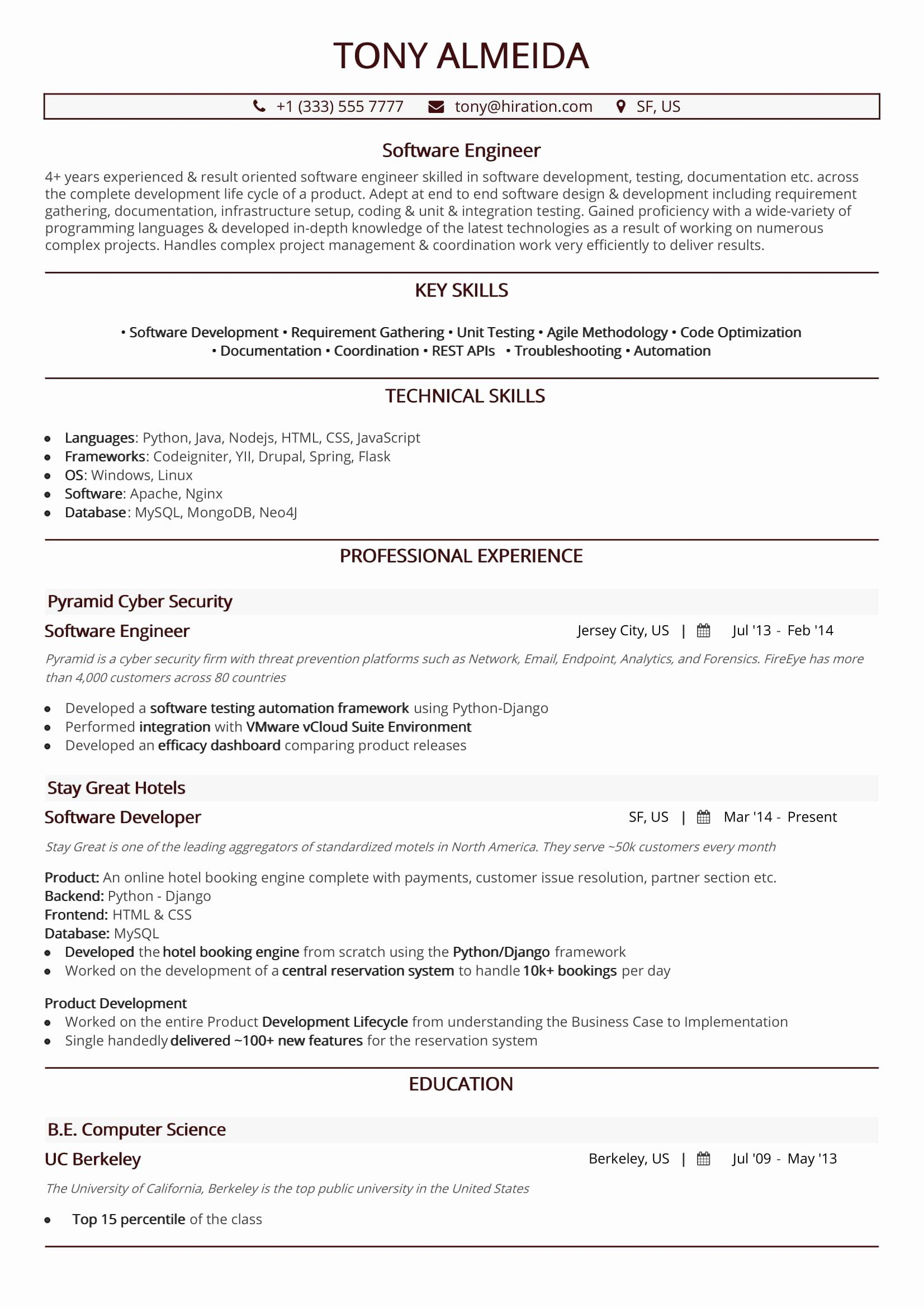 25 software Engineering Resume Template in 2020