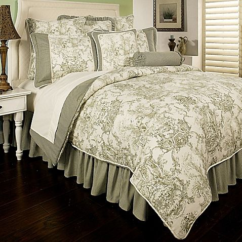 Superb Sherry Kline Country Toile Reversible Comforter Set In Sage Green
