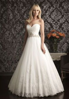 Dramatic Princess Lace & Tulle Chapel Train Sweetheart Wedding Dresses With Sash/ Ribbon - 1300103517B - US$239.99 - BellasDress