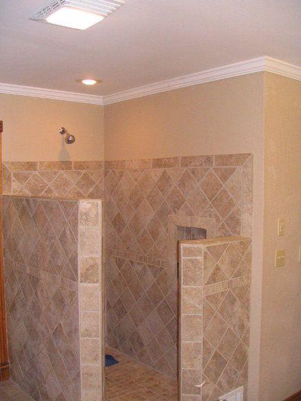 Replacing Fiberglass Shower With Ceramic Tile Shower Remodel Modern Master Bathroom Remodel Small Shower Remodel