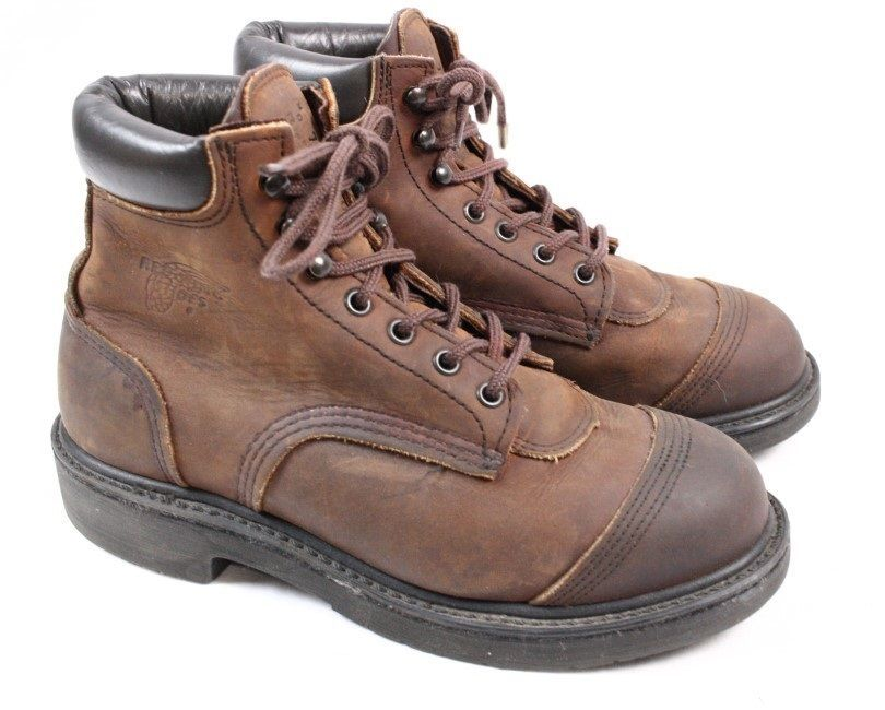 a43a6ffa60f RED WING 981 Brown Leather Lace Soft Toe Ankle Collar Work Hiking ...