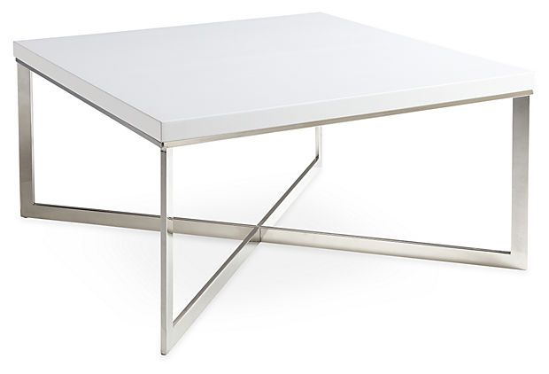 Contemporary Cappuccino Connect It Computer: Griffin Square Coffee Table, White On OneKingsLane.com