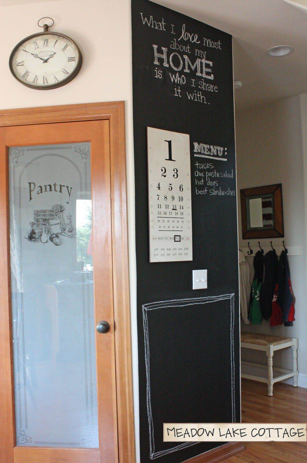 Diy Kitchen Chalk Board Wall With Quote Perpetual Calendar