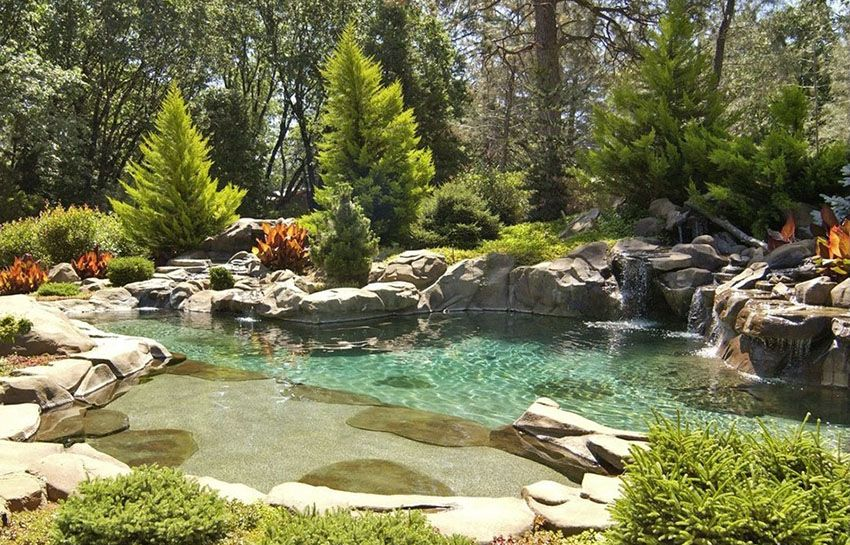 37 Swimming Pool Water Features Waterfall Design Ideas Natural