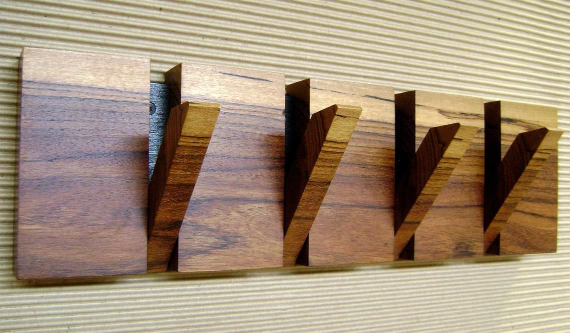 Modern Wall Coat Rack 4 Hooks Made Of Nogal Cafetero Wood Etsy Wooden Coat Rack Coat Hooks On Wall Wooden Coat Hangers