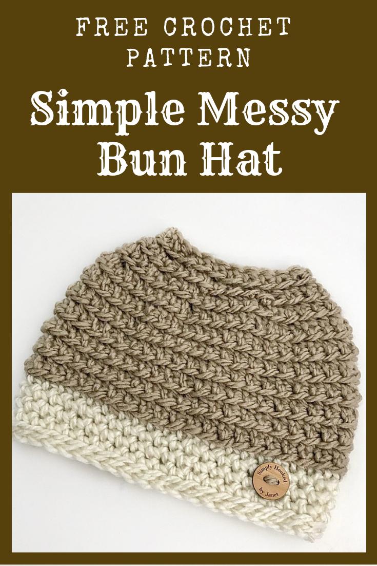 Free & Simple Crochet Messy Bun Hat Pattern #messybunhat