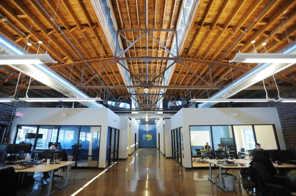 industrial modern office. Wood Ceiling Industrial | Former Leopold Bros. Brewery Into \u0027industrial But · Modern Office