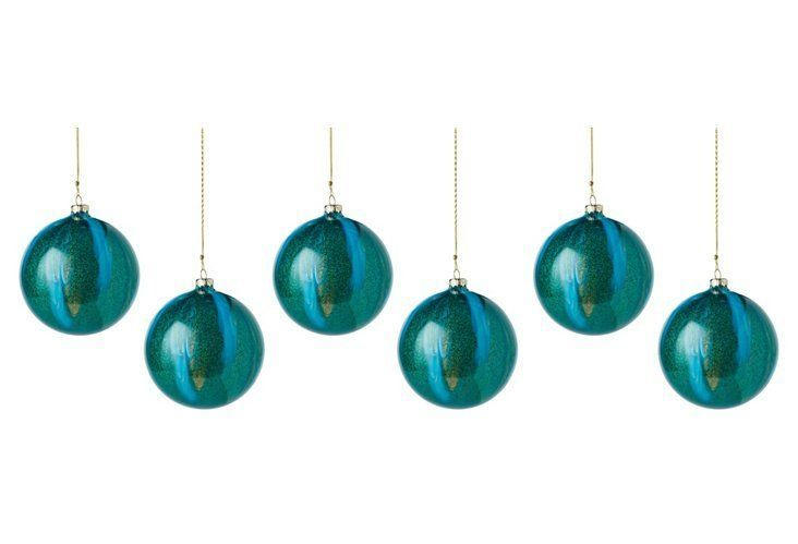 "S/6 4"" Malachite Ornaments, Teal"