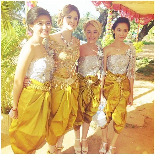 Bride and Bridesmaids in 1 out of the 7 outfits. #Khmer #Cambodian #wedding #interracial #marriage #SiemReap #Cambodia