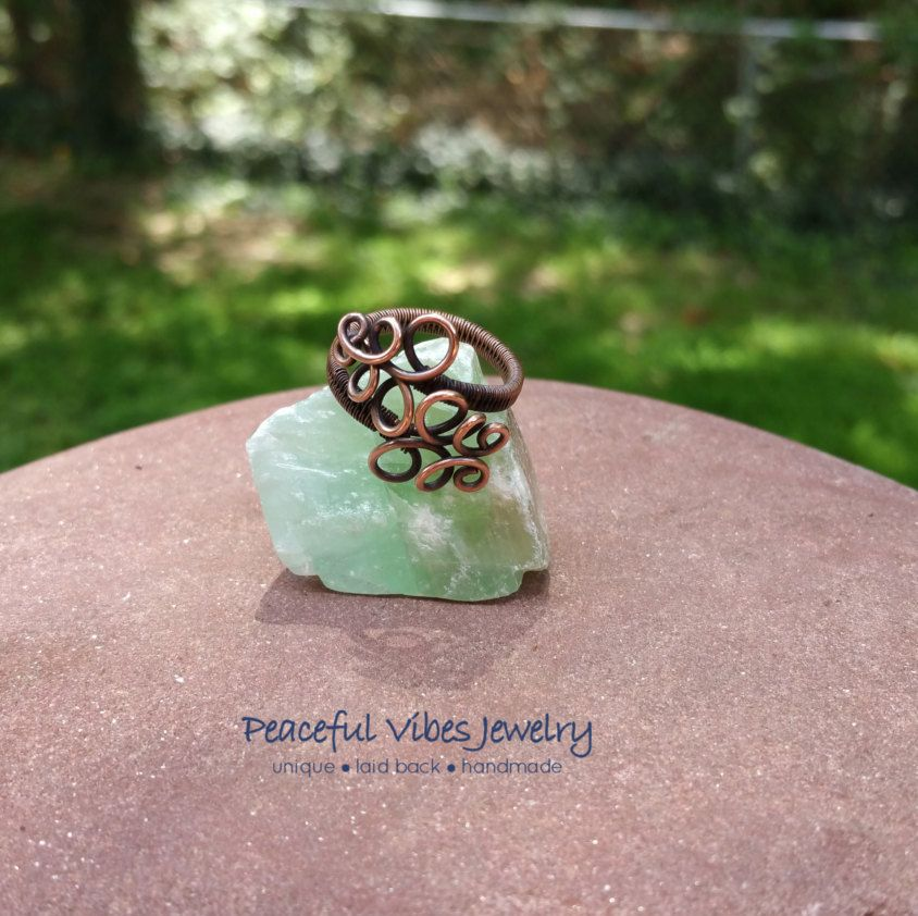 Spiral Bliss Wire Wrap Ring Antique Copper Jewelry Copper Spiral Handcrafted…