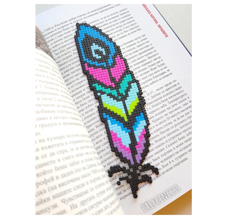 Peacock Feather Bookmark pixel art Feather Hama Perler beads Reading Library decor Bird feather