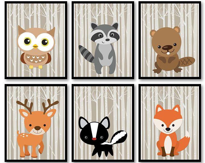 Woodland Animals Nursery Art Print Mix Match Owl Ra Beaver Deer Skunk Fox Trees Wild