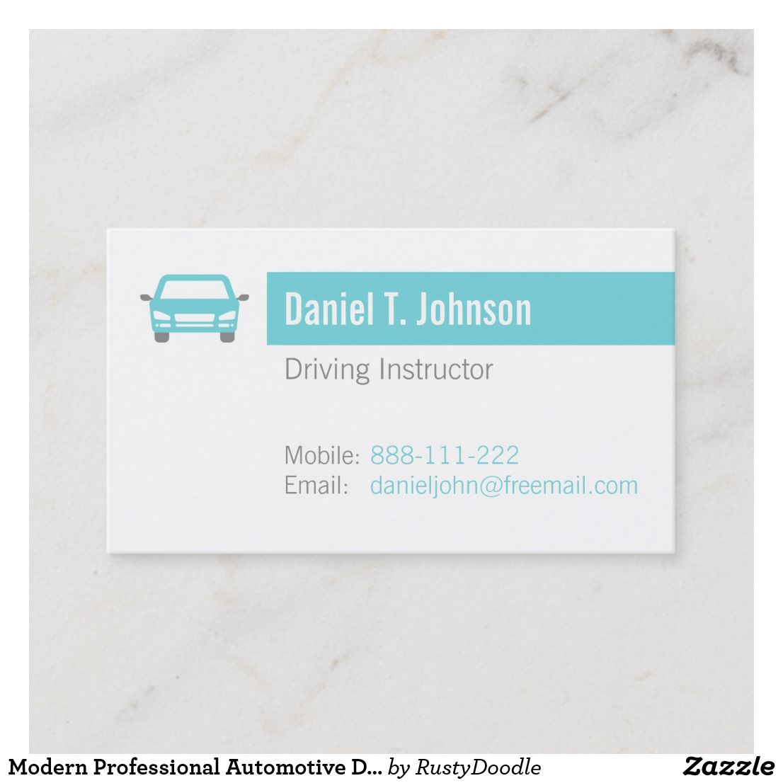 Modern Professional Automotive Driving Instructor Business Card Zazzle Com Driving Instructor Business Card Modern Cleaning Business Cards