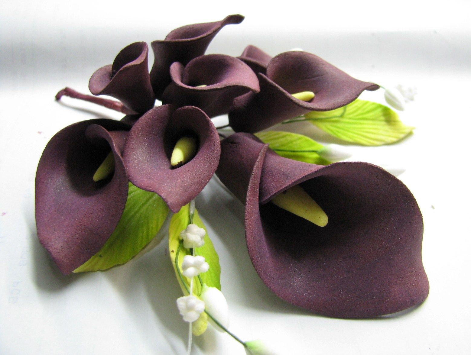 Calla Lily Spray Dark Burgundy Dark Maroon Calla Lily Gum Paste Flowers Calla