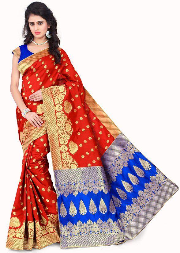 d0d2ac923dc2f Hot Red and Royal Blue Banarasi Silk Saree