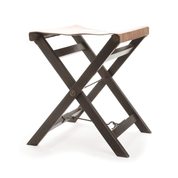 soft leather and dark wood combine to make this stool a looker