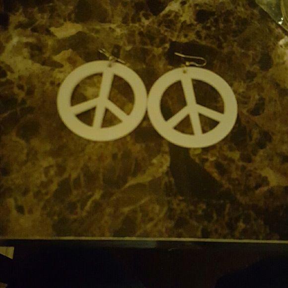 Earrings White peace symbol Jewelry Earrings