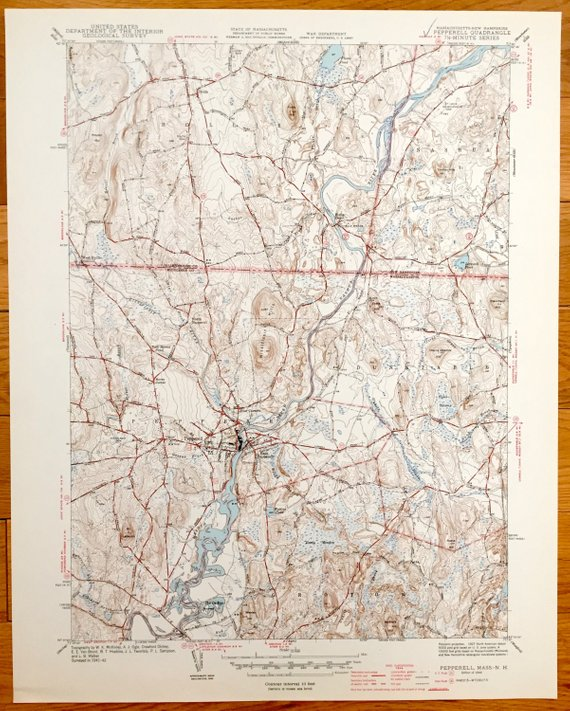 Topographic Map Massachusetts.Antique Pepperell Massachusetts Hollis New Hampshire 1941 Us