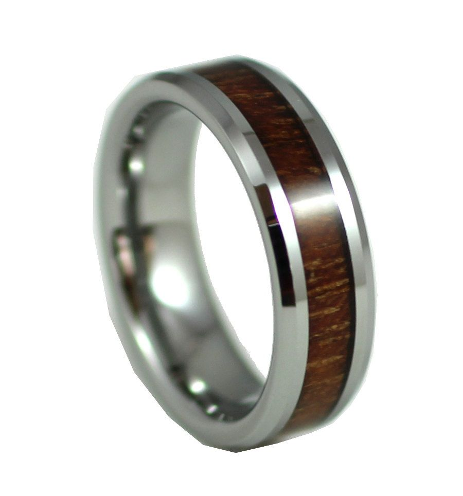 Elegant Koa Wood, Thin Men's Wedding Band, 6MM, Men's Ring, Tungsten Carbide Ring, Wood Inlay, Sizes 7-13 by AlphaTungsten on Etsy https://www.etsy.com/listing/219025268/elegant-koa-wood-thin-mens-wedding-band