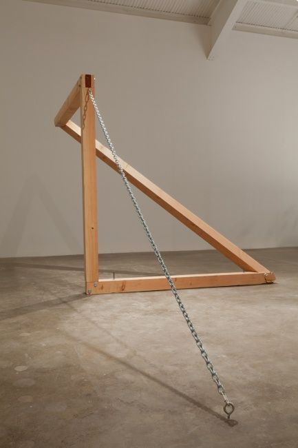 Oscar Tuazon | Untitled - 2012 / douglas fir, chain, steel. 8x18x8 feet.