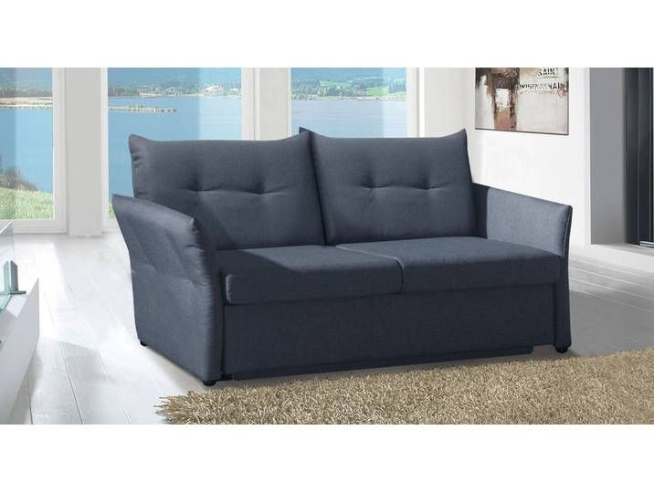 Schlafsofa schwarz mit Bettkasten frei im Raum platzierbar – Retford –