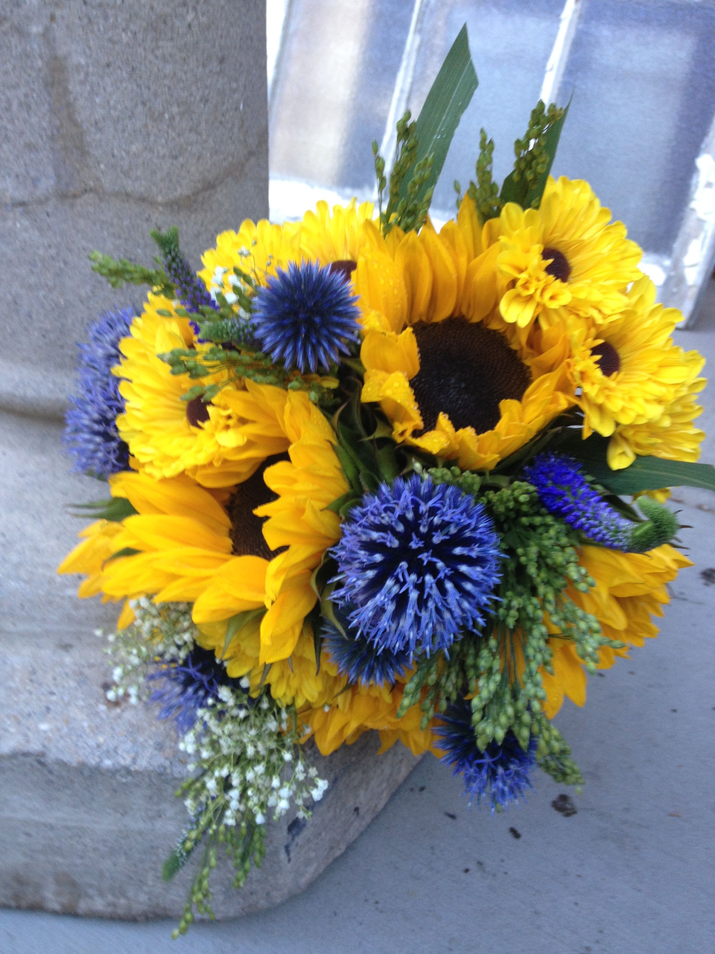 Wedding Flowers Bridal Bouquet Blue Yellow Sunflowers And Globe