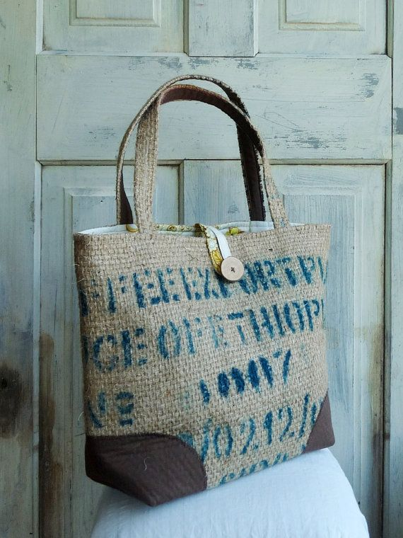 SALE. LeAH tote bag. Upcycled tote. Grocery bag. Everyday bag. Book bag. Burlap. Retro yellow floral liner. via Etsy