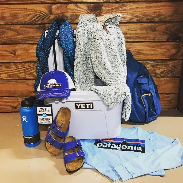 product  true grit jacket  yeti  kavu bag  birkenstocks  fayettechill hat  hydroflask  and