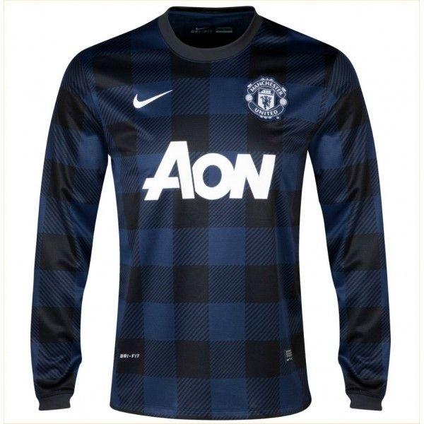 Comprar la Segunda Camiseta Manga Larga del Manchester United 2013 2014.  Camiseta de visitante del manchester united en color negro y azul de manga  larga 01be0376404bc