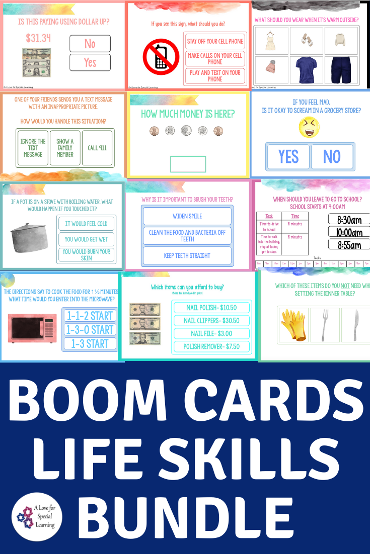 Life Skills Bundle Digital Task Cards Boom Cards Distance Learning Life Skills Special Education Students Life Skills Activities [ 1102 x 735 Pixel ]
