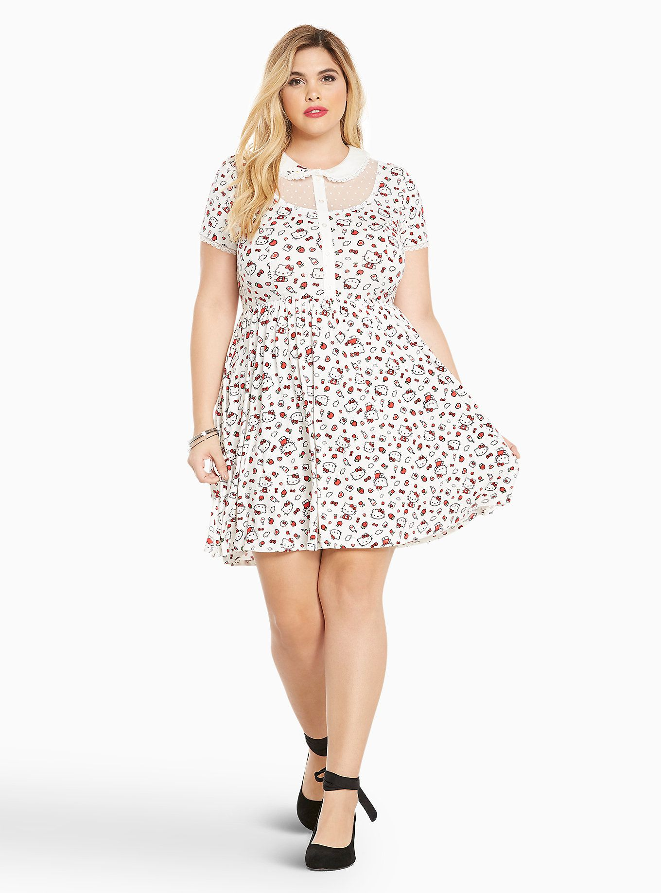 18bfe3f33973 Sanrio Hello Kitty Icon Print Skater Dress in 2019 | Funky Fashion ...