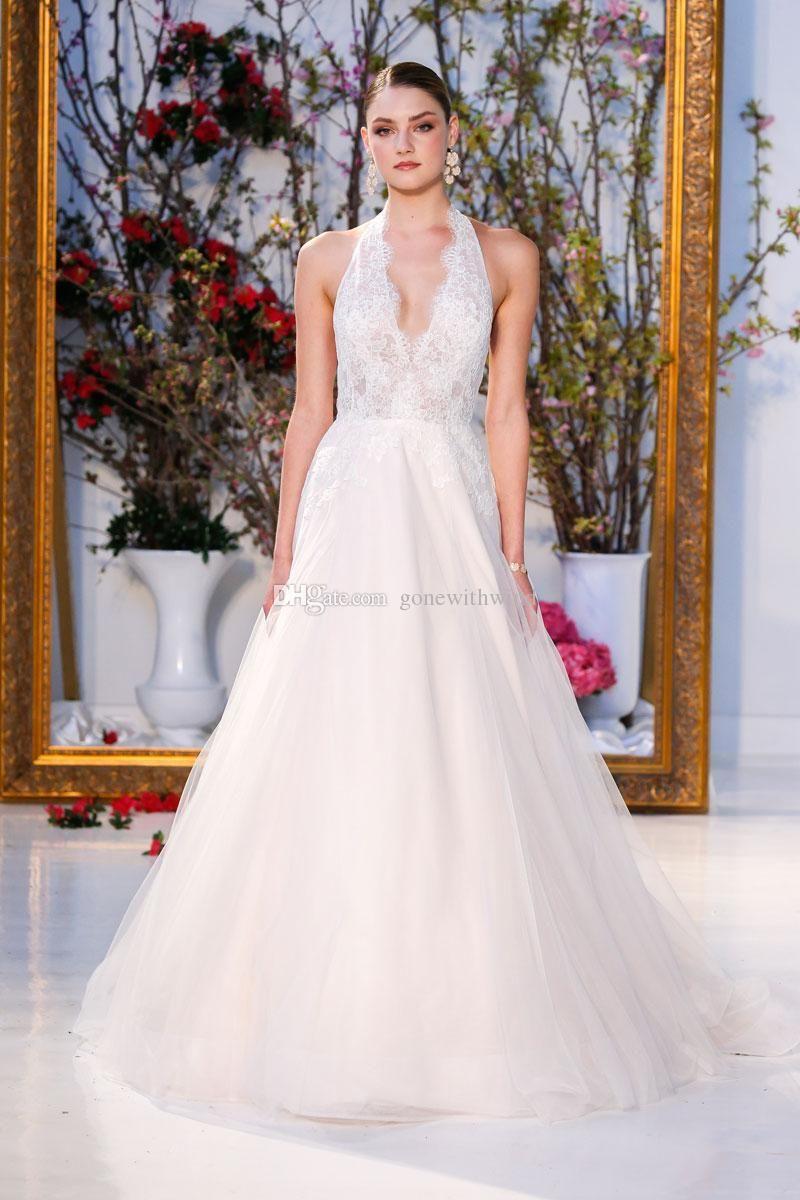 Tulle skirt wedding dress  summer wedding dresses  deep Vneck halter neckline lace bodice