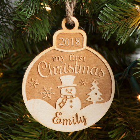 Personalized Wood Ornament My First Christmas Ornament Walmart Com In 2020 Engraved Christmas Ornaments Wood Christmas Ornaments Christmas Ornaments