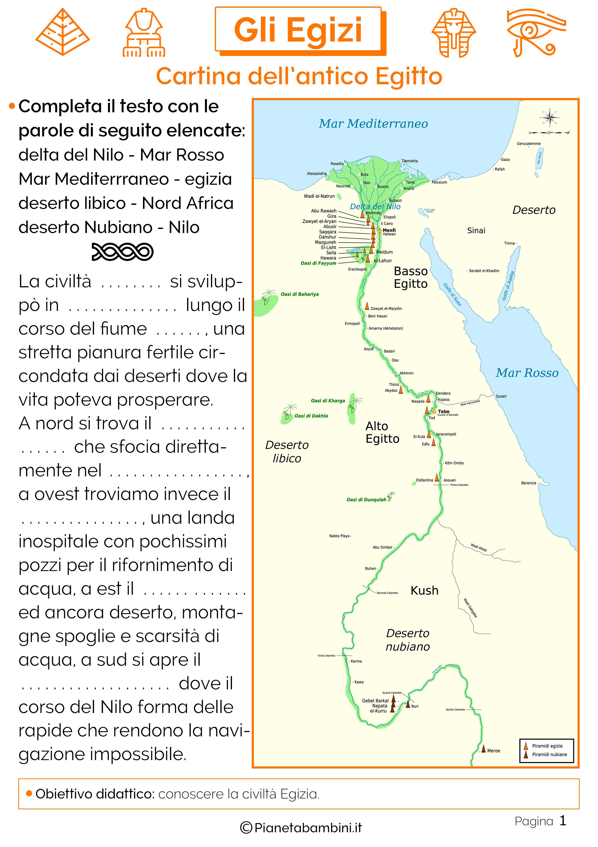 Cartina Egitto In Italiano.Gli Egizi Schede Didattiche Per La Scuola Primaria Pianetabambini It Egiziano Scuola Schede Didattiche
