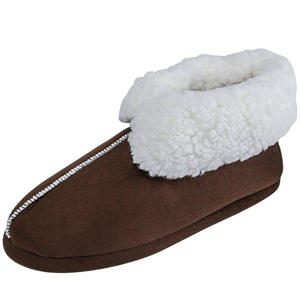 d81d03ef736f Mens Womens Winter Warm Wool Plush Fleece Lined Slippers Slip On ...