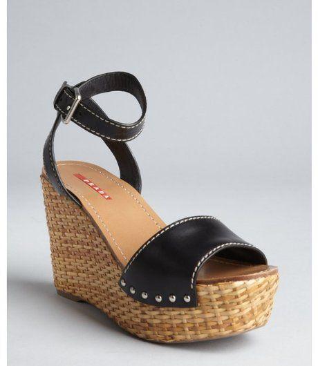 aea7ec1eca3b  Prada Sport Black Leather Ankle Strap Basketweave Wedges - Lyst