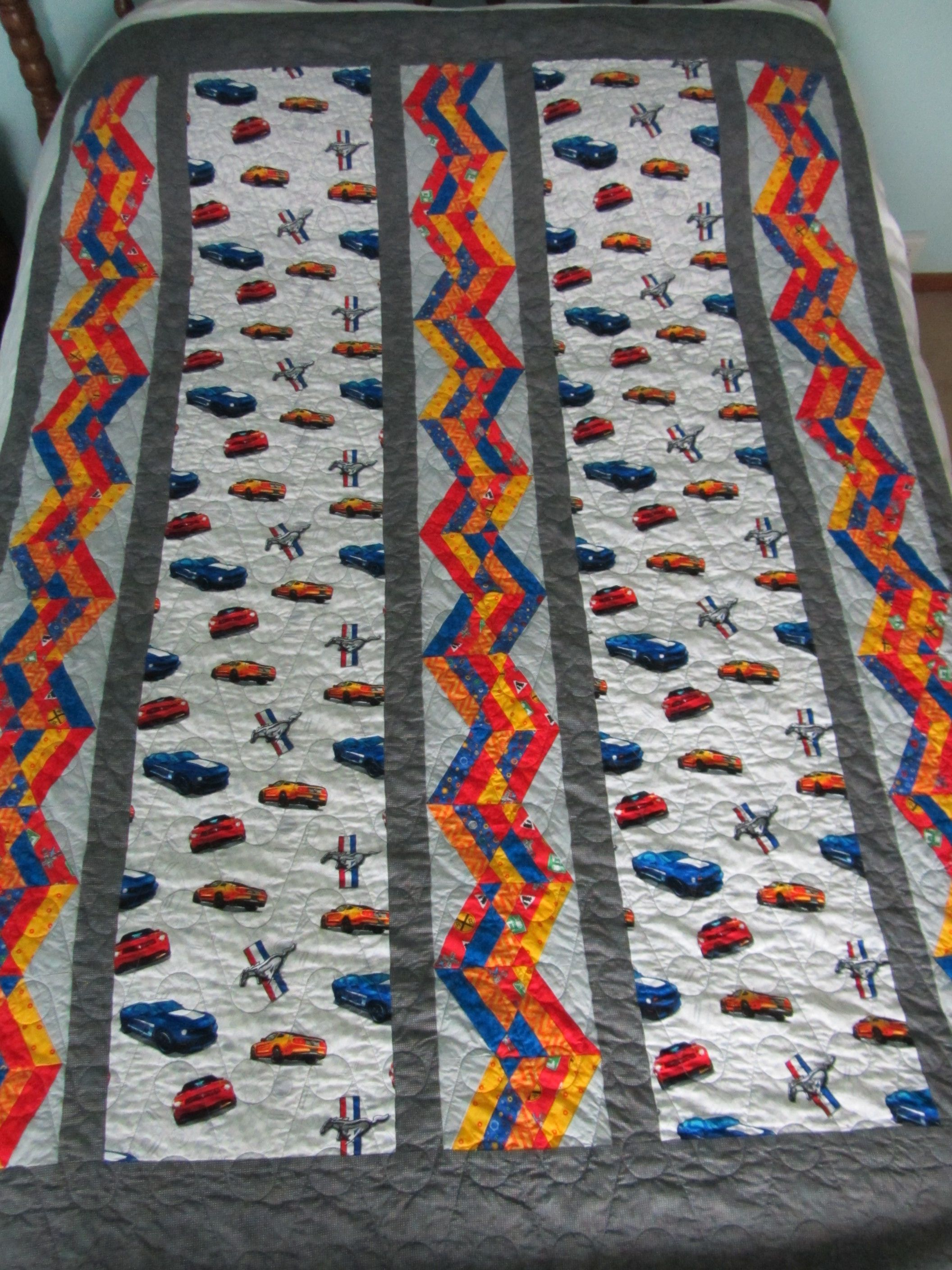 Ford mustang fabric quilt for a toddler