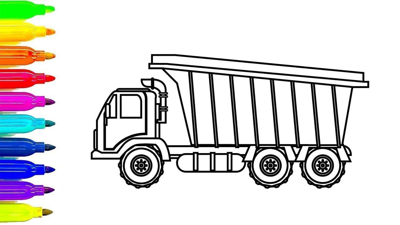 Learn colors for chidren with Dump Truck colouring pages ...
