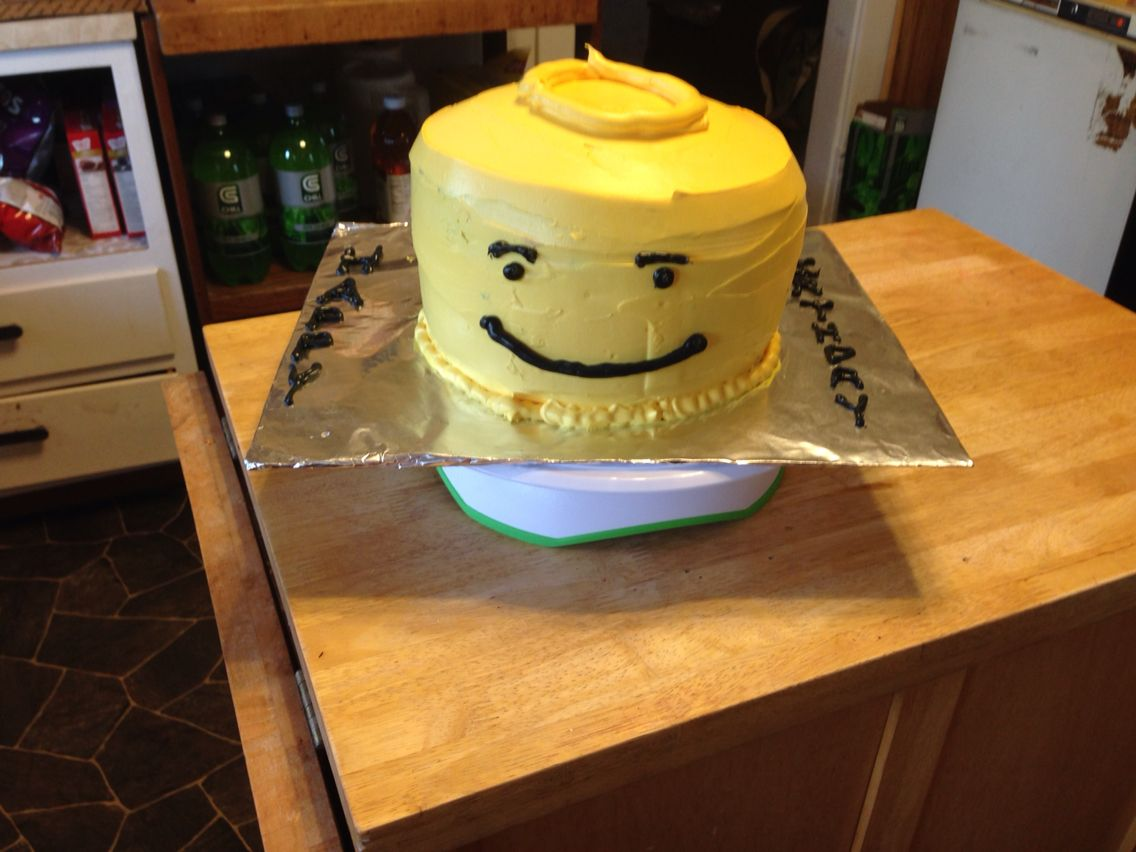 Lego Head cake with checkerboard inside