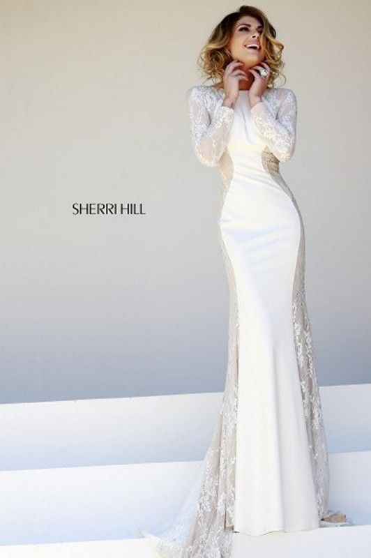 77f8730e68 Sherri Hill 32027 Optical Illusion Sheer Lace Side Panel Evening Gown