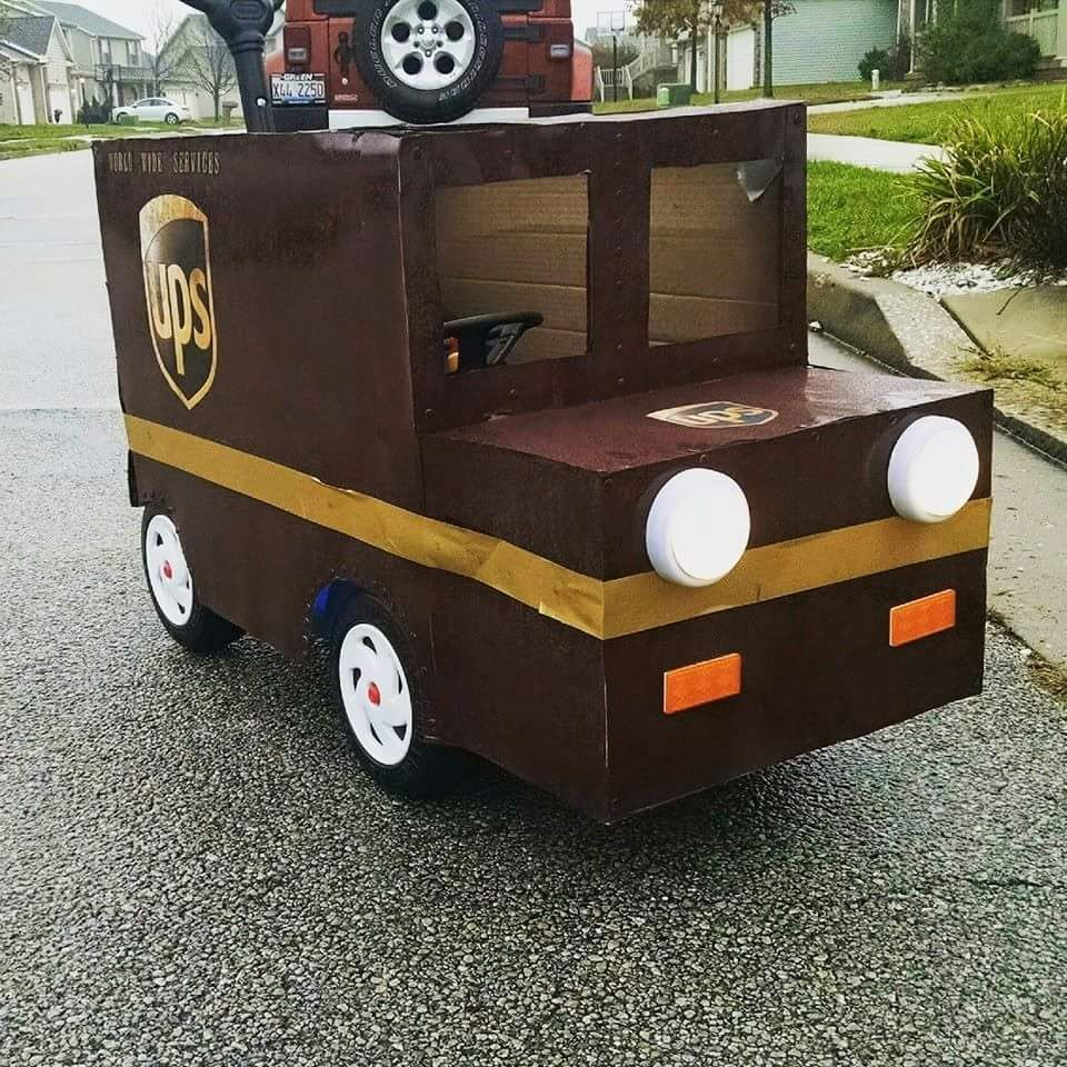Ups Truck Halloween Costume Placed Over The Top Of Little Tikes