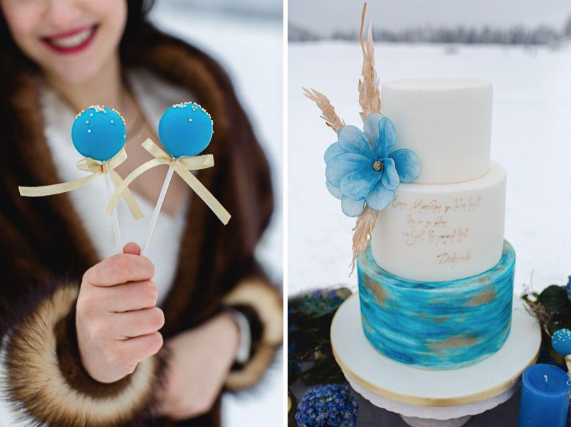 Hochzeitstorte Fur Eine Winterhochzeit In Blau Gold Und Weiss