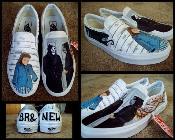 Brand New the devil and God are raging inside of me Custom Hand Painted Vans by CultureMonster