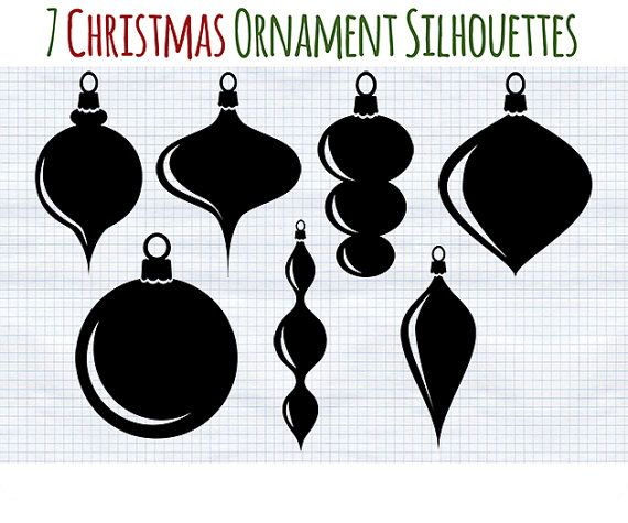 Christmas Ornaments Silhouettes Digital Clipart Instant Download