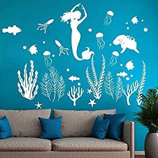 Amazon Com Fish Decor Rub On Transfer Tools Home Improvement Mermaid Wall Decals Girl Room Sticker Decor