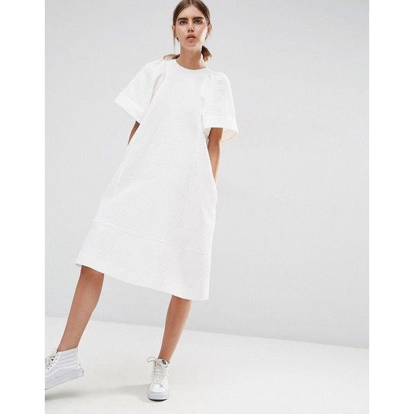 ASOS WHITE Textured A-Line Midi Dress With Frill Sleeve (€110) ❤ liked on Polyvore featuring dresses, white, oversized dress, asos dresses, white zipper dress, loose fitting dresses and midi dress