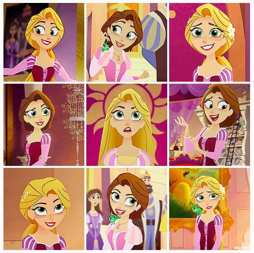 Rapunzel in Tangled the series. I love the art, while I do prefer the original 3D animation of the movie this art style feels like it's from one of Rapunzel's paintings from her tower. Also, am I the only one who thinks Rapunzel looks older with shorter brown hair even though she's the same age?